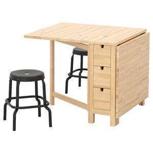 NORDEN / RÅSKOG Tisch + 2 Hocker, Birke/schwarz