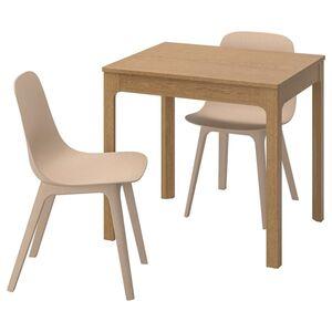 EKEDALEN / ODGER Tisch und 2 Stühle, Eiche/weiß beige