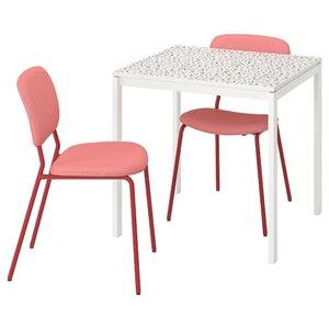 MELLTORP / KARLJAN Tisch und 2 Stühle, Mosaikmuster weiß/Kabusa rot