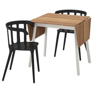 IKEA PS 2012 Tisch und 2 Stühle, Bambus/schwarz