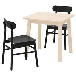 NORRÅKER / RÖNNINGE Tisch und 2 Stühle, Birke schwarz
