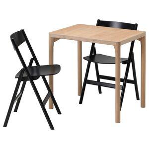 RÅVAROR Tisch und 2 Klappstühle, Eichenfurnier/schwarz