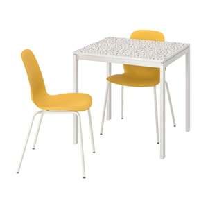 MELLTORP / LEIFARNE Tisch und 2 Stühle, Mosaikmuster weiß/Broringe weiß