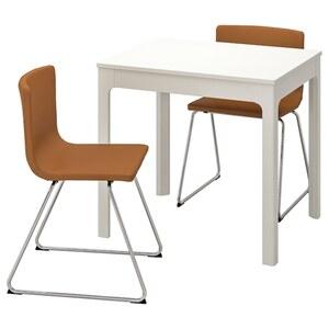 EKEDALEN / BERNHARD Tisch und 2 Stühle, weiß/Mjuk goldbraun