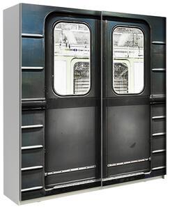 Schwebetürenschrank 170cm Plakato Metro, Grau Dekor