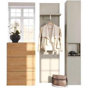 Hülsta Garderobe eichefarben, hellgrau, bronzefarben , Tetrim , Metall, Glas , furniert , 188x211x33 cm , lackiert,Echtholz , 000351033305