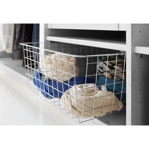 Hom`in Wäschekorb für 50er elemente, ausziehbar, inkl. einlegeboden , Matrix -Hom In- , Grau, Silberfarben , Holz, Metall , 43x19x53 cm , Nachbildung , Deckel , 001172005612