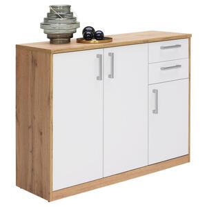 Xora Kommode weiß, eichefarben , Easy , Holzwerkstoff , 3 Fächer , 2 Schubladen , 106x84x36 cm , Nachbildung , Beimöbel erhältlich , 000017003306
