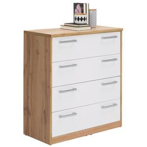 Xora Kommode weiß, eichefarben , Easy , Kunststoff , 4 Schubladen , 72x84x36 cm , Nachbildung , Beimöbel erhältlich , 000017003303