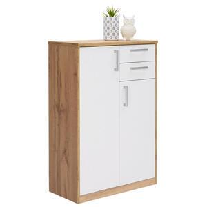 Xora Kommode weiß, eichefarben , Easy , Holzwerkstoff , 5 Fächer , 2 Schubladen , 72x110x36 cm , Nachbildung , Beimöbel erhältlich , 000017003308