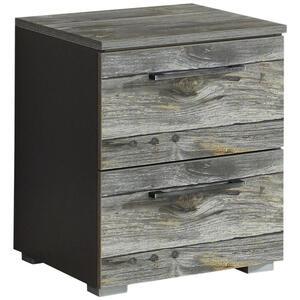 Carryhome Nachtkästchen graphitfarben , Timberstyle , Metall , 2 Schubladen , 40x49x42 cm , Wasserlack,Nachbildung , Typenauswahl , 000380069308