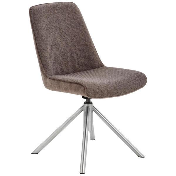 Novel Stuhl flachgewebe edelstahlfarben, cappuccino , Rialto , Metall, Textil , 49x88x64 cm , gebürstet,Flachgewebe , Sitzfläche 360° drehbar , 000196058401