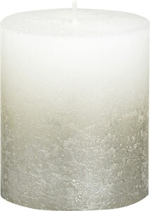 Bolsius Rustik Stumpenkerze Metallic ,  weiß-champagner, Höhe 8 cm, Ø 6,8 cm