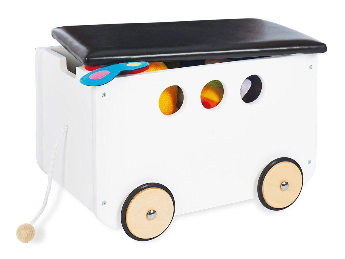 Bild 1 von Pinolino Spielzeugkiste »Jim«, mit Rollen und Zugschnur, Sitzgelegenheit bis zu 20 kg