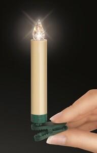 Krinner Lumix Weihnachtsbaumkerzen Classic Basisset, 10 LED Kerzen, elfenbein