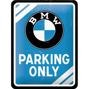 "Nostalgic-Art Blechschild 15 x 20 ""BMW-Parkin Only Blue"" blau"