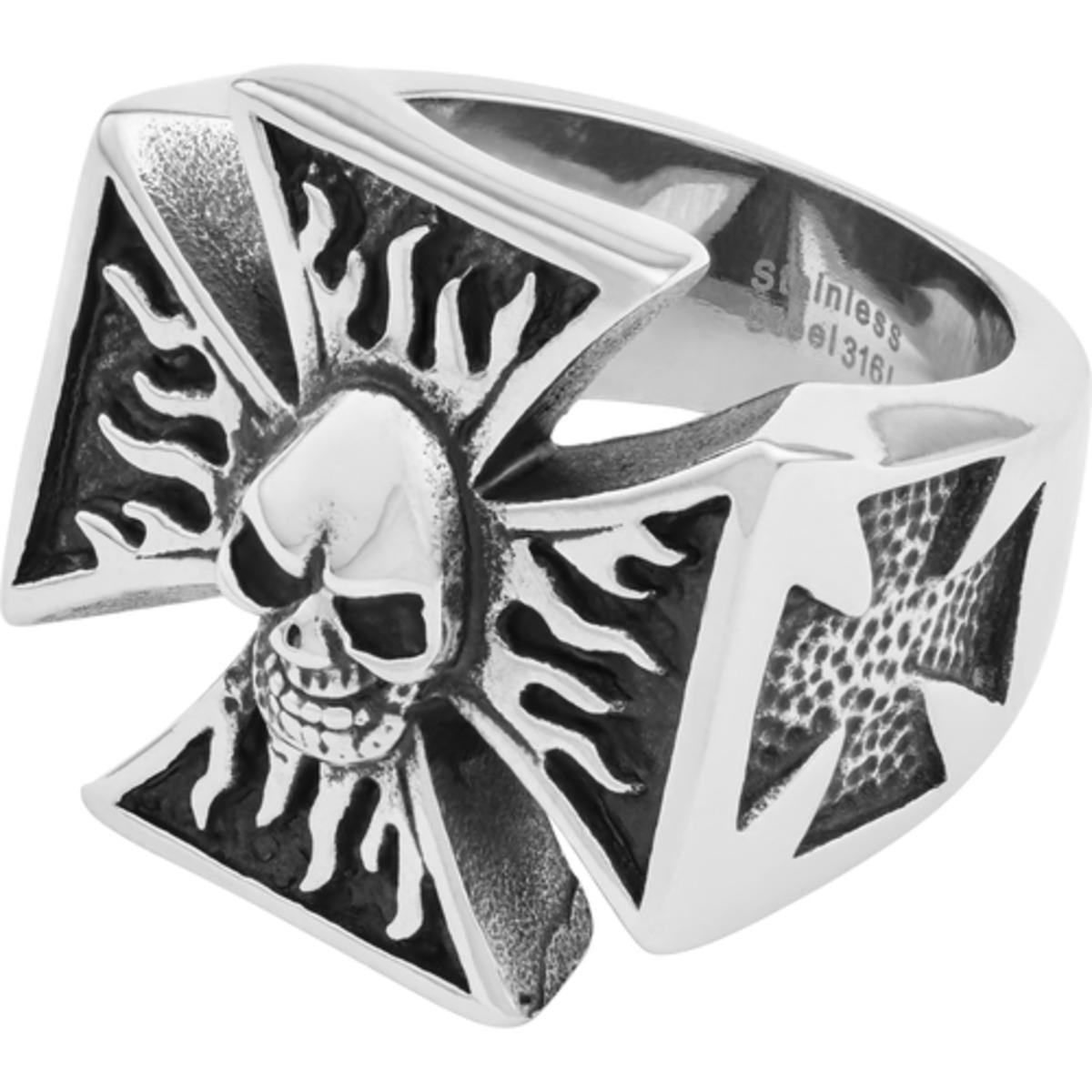 "Bild 1 von Spirit Motors Edelstahlring ""Iron Cross & Skull"" silber"