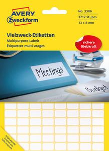 AVERY ZWECKFORM 3306 Mini-Organisations-Etiketten 13 x 8 mm 13 x 8 mm   3.712 Etiketten / 29 Bogen