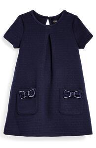 Marineblaues Ponté-Kleid (kleine Mädchen)