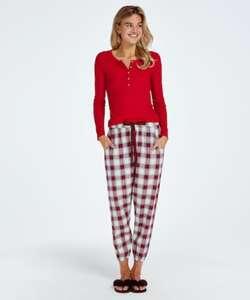Hunkemöller Petite Pyjamahose Twill Check Rot