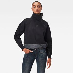 Fabric Mix Zip Sweatshirt