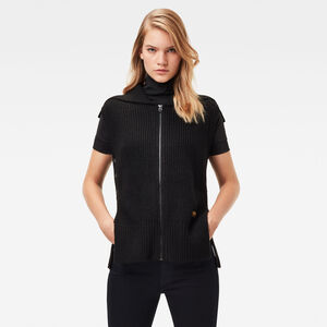 Zip Through Collar Knitted Pullover