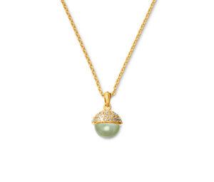 Kette, 925 Silber vergoldet, mit Prehnit und Zirkonia »Premium Collection«