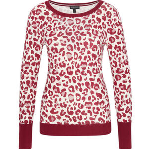 MANGUUN Collection Pullover, Rundhals, Rippdetails, Label-Emblem, für Damen