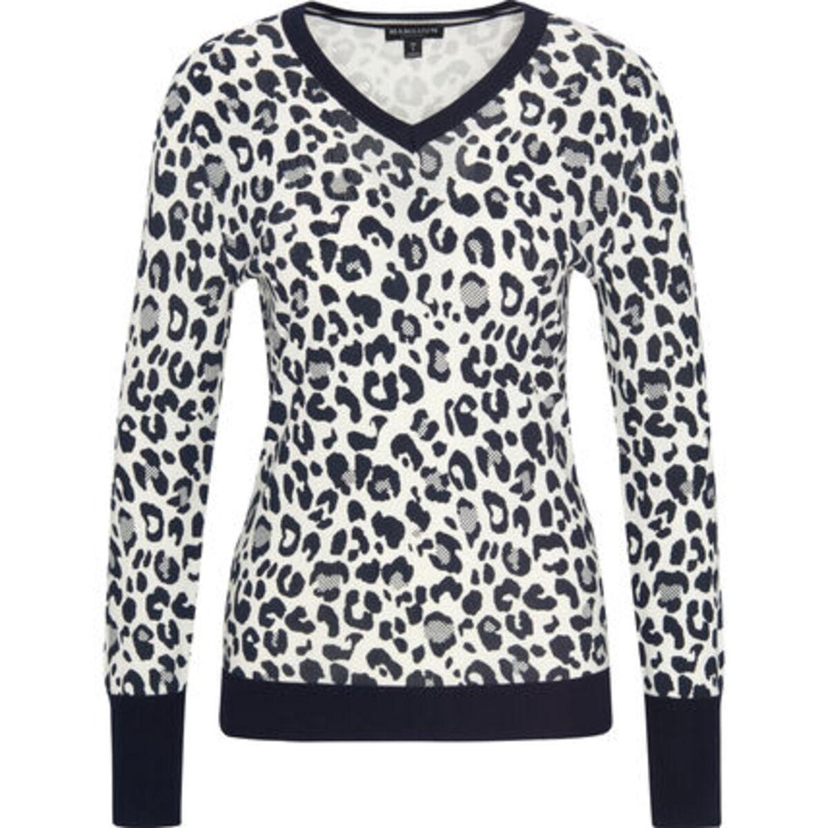 Bild 1 von MANGUUN Collection Pullover, V-Ausschnitt, Rippdetails, Label-Emblem, für Damen
