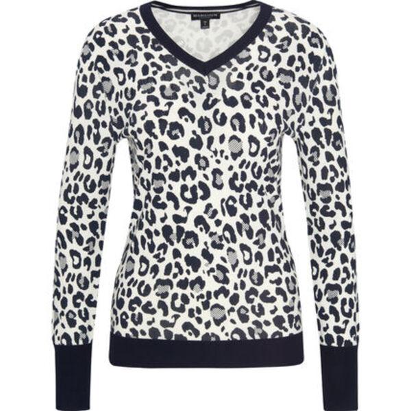MANGUUN Collection Pullover, V-Ausschnitt, Rippdetails, Label-Emblem, für Damen