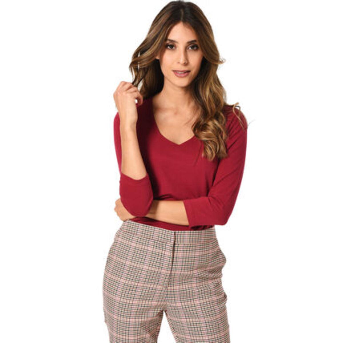 Bild 1 von MANGUUN Collection Shirt, Basic, U-Ausschnitt, 3/4 Arm, Baumwollstretch, für Damen