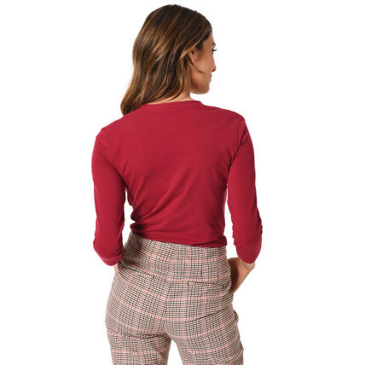 Bild 2 von MANGUUN Collection Shirt, Basic, U-Ausschnitt, 3/4 Arm, Baumwollstretch, für Damen