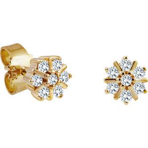 Moncara Damen Ohrstecker, 375er Gelbgold mit 14 Diamanten