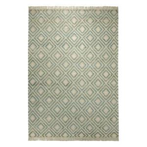 Esprit Handwebteppich 60/110 cm grün, sandfarben , Simple , Textil , Abstraktes , 60x110 cm , für Fußbodenheizung geeignet, in verschiedenen Größen erhältlich , 007606034452