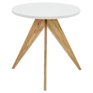 Now by Hülsta Beistelltisch massiv rund weiß, eichefarben , NOW Elements , Holzwerkstoff , 55x57x55 cm , lackiert,lackiert,Echtholz , 000350021968
