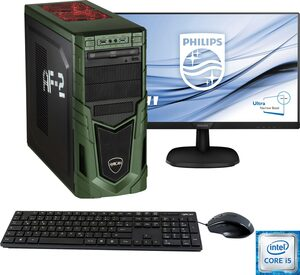 Hyrican »Military SET1985« Gaming-PC-Komplettsystem (24 Zoll, Intel Core i5, RTX 2070 SUPER, 16 GB RAM, 1000 GB HDD, 480 GB SSD, 2-tlg, inkl. Office-Anwendersoftware Microsoft 365 Single im Wert vo