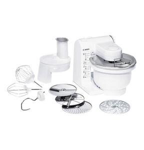 Bosch Küchenmaschine MUM 4427, 3D-Rührsystem, MultiMotion-Drive, 4 Schaltstufen, Rührschüssel (3,9 l / Teigmenge 2 kg), Durchlaufschnitzler inkl. 4 Arbeitsscheiben, 500 Watt