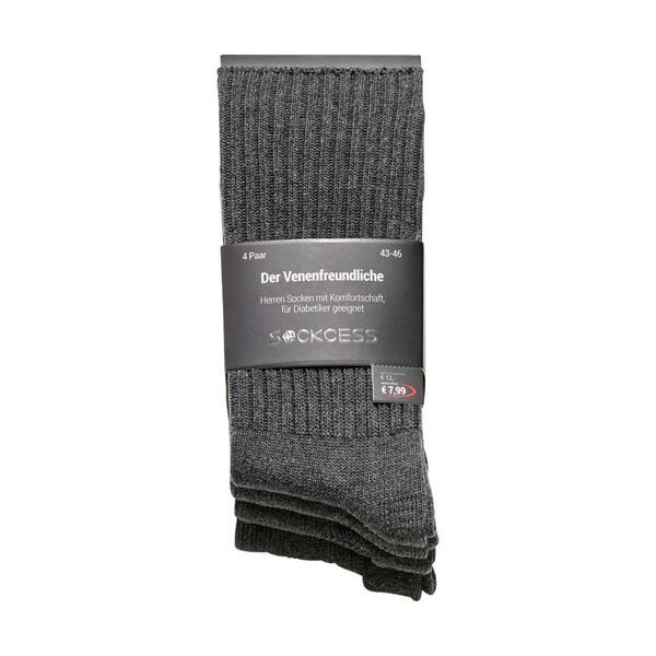 Herren-Socken mit Frotteesohle, ohne Gummi im Abschlussbund, versch. Farben,  Größe: 39/42 - 43/46, 4er-Pack, je