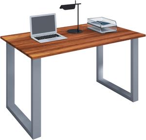 VCM Schreibtisch Lona 140x50 U-Fußgestell Kern-Nussbaum/silber