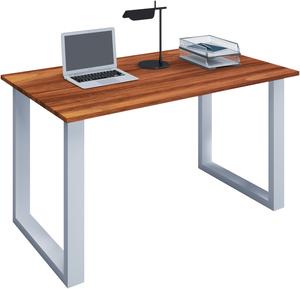 VCM Schreibtisch Lona 110x50 U-Fußgestell Kern-Nussbaum/weiß