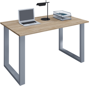 VCM Schreibtisch Lona 80x50 U-Fußgestell Sonoma-Eiche/silber