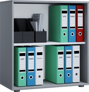VCM Büroregal Lona 2-Fach ohne Türen grau