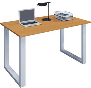 VCM Schreibtisch Lona 140x80 U-Fußgestell Buche/weiß