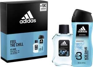 adidas Geschenkpackung Ice Dive Eau de Toilette, Ice Dive Shower Gel 250ml und Voucher