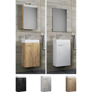 """VCM Waschplatz Waschbecken + Schrank + Spiegel oder Spiegelschrank WC Gäste Toilette Badmöbel klein schmal """"Garla"""""""