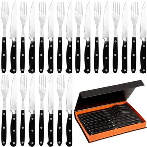 Deuba Steakbesteck Set Steakmesser Steakgabel Edelstahl inkl. Box - 24 tlg silber / schwarz