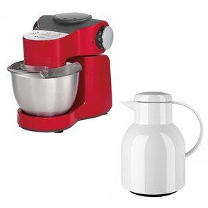 Krups KA 3135.KFE Master Perfect Plus Küchenmaschine rot/Chrom + Emsa Samba Isolierkanne 1L weiß matt