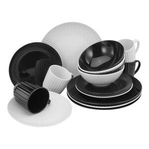 Creatable 22196 Allegra Black & White Geschirrset Kombiservice 16 teilig, Porzellan