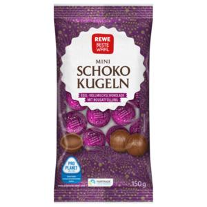 REWE Beste Wahl Mini Schoko Kugeln Edel-Vollmilchschokolade mit Nougatfüllung 150g