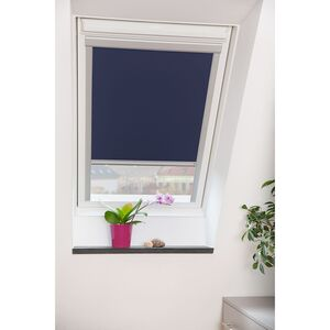 home24 Lichtblick Dachfensterrollo Skylight 61x116 cm (BxH) Blau Webstoff